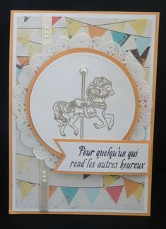 Carte twist Stampin'Up (1) - Design Petits gâteaux et manèges, tampons Carousel Birthday, tampons Jard'incroyable (SAB 2017) Kids Cards, Baby Cards, Card Making Inspiration, Making Ideas, Stampin Up Carousel Birthday, Carnival Card, Carousel Cupcakes, Kanban Cards, Diy And Crafts