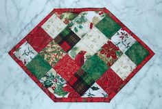 Christmas Squares Place Mat Set of 4 by KeriQuilts on Etsy, $50.00
