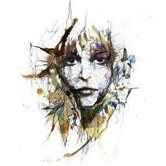 'Another place',Tea and ink on paper - by Carne Griffiths
