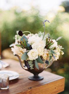 Cream and green floral arrangement | photo by Erin J. Saldana