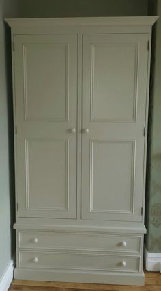 farrow and ball painted pine 2 door double wardrobe with drawers/made to measure