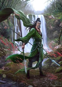 This elf warrior's green cape whips in the wind as he poses in front of a waterfall.  He favors polearms.