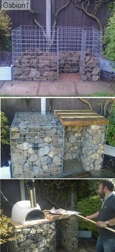 gabion pizza oven base supplied by Oven Diy, Diy Pizza Oven, Pizza Oven Outdoor, Outdoor Cooking, Pizza Ovens, Outdoor Kitchens, Rustic Pizza, Garden Pizza, Brick Bbq