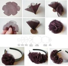 What you need: -Flower petal template- located HERE -Sheer fabric -Felt -Permanent fabric glue -Headband (wide bands work best) -Scissor. Diy Lace Ribbon Flowers, Fabric Flower Headbands, Making Fabric Flowers, Cloth Flowers, Fabric Roses, Ribbon Art, Band Kunst, Fabric Flower Tutorial, Diy Headband