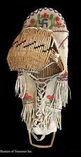 "RARE Antique Indian Beaded Cradle PAIUTE Native American Beadwork Whrling Log20"""
