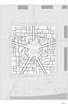 Floor Plan on Site Plan / National Art Museum of China competition entry / OMA Oma Architecture, Architecture Drawings, Architecture Diagrams, Architecture Portfolio, Architecture Details, National Art Museum, Museum Plan, Plan Drawing, Kunst Poster