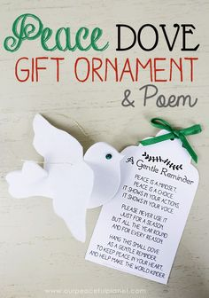 This peace dove is not just meant for Christmas but to be used as a year round reminder. Use the free pattern and printable poem for a unique gift.
