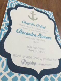 Nautical Baby Shower Invitation  Baby Shower by MemorableImprints