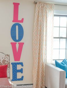 DIY Valentine wall art Love Letters by Four Generations One Roof