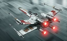 The blurred parts around the ship make it look like the x-wing is going very fast