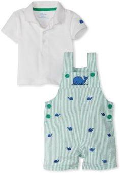 Little Me Baby-Boys Newborn Whale Woven Shortall Set, Green, 6 Months Little Me. $32.00