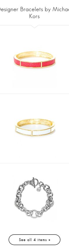 """Designer Bracelets by Michael Kors"" by modalist ❤ liked on Polyvore featuring jewelry, bracelets, cuff bracelet, hinged bracelet, cuff bangle bracelet, leather cuff bracelet, leather jewelry, cuff bangle, leather bangle bracelet and bangle bracelet"