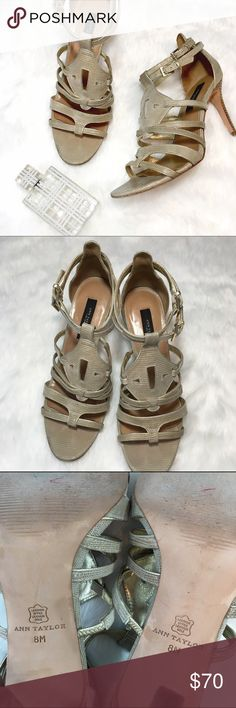 Ann Taylor Strappy Heels These gorgeous leather heels are all set to accent your favorite look! Very good condition - only a little wear as shown.  Heels and soles show gentle use, uppers are in excellent condition! Ann Taylor Shoes