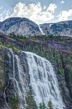 Pyramid Creek Falls located above Mokowanis Lake, Glacier National Park, Montana; photo by .John and Jean Strother