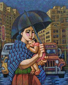 Under Mom's Umbrella - by, Ninoy Lumboy, a Filipino artist