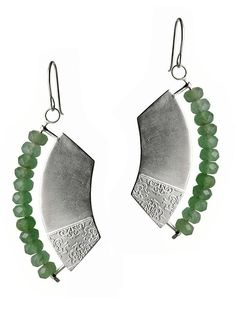 Drew Curtright. Hoplite Earrings, chemically etched sterling silver/aventurine beads
