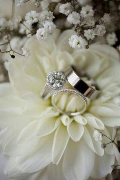 Wedding Rings Nestled In The Center Of An Ivory Dahlia································