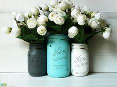 Dolphin / Turquoise - Home Decor - Wedding Decor - Vase - Centerpiece - Hostess Gift - Painted Mason Jars