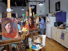 Partial view of the workshop for the Rochester Art Club during a break.