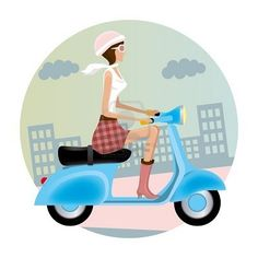 Illustration - Vespa Girl....this will be me one day!