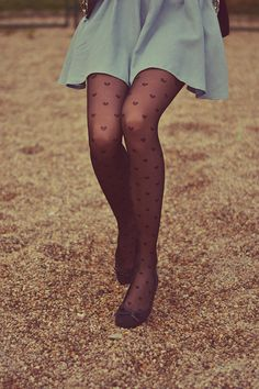 I love the skirt and heart stockings! I'd wear different shoes...like either my black combat boots, black low top or brown high top converse, or my dark brown leather boots