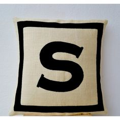 Amazon.com: Amore Beaute Handcrafted Personalized Monogram Throw... (2,695 INR) via Polyvore featuring home, home decor, throw pillows, handmade home decor, monogram throw pillow, quote throw pillows, burlap throw pillows and black home decor