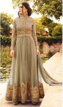 Tan Brown Color Georgette Abaya Style Long Salwar Kameez   FH506677250 #heenastyle , #boutique , #pakistani, #salwar , #kameez , #suit , #dresses , #styles , #fashion , #clothing , #henna , #designs , #mehndi , #more , @heenastyle , #party , #online , #abaya