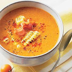 The question now becomes,  who wouldn't want a bowling of this healthy treat ? ?  Roasted Tomato-and-Corn Soup  Roasted Tomato-and-Corn Soup