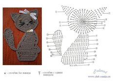 Crochetpedia: 2D Crochet Cat Applique ༺✿ƬⱤღ  https://www.pinterest.com/teretegui/✿༻