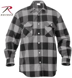 GREY & BLACK PLAID FLANNEL SHIRTS Featuring Grey & Black Plaid Design 100% Cotton Extra Heavyweight Buffalo Plaid Flannel Provides Great Warmth and Comfort Full Button-Up Front Two Button Flap Pockets