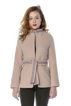 Sacou bej cu guler tunica SC16B -  Ama Fashion Blouse, Long Sleeve, Sleeves, Tops, Women, Fashion, Moda, Full Sleeves, Fashion Styles