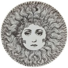 Fornasetti Plate (€115) ❤ liked on Polyvore featuring home, kitchen & dining, dinnerware, fornasetti, grey, fornasetti plates, gray dinnerware, grey dinnerware ve gray plates