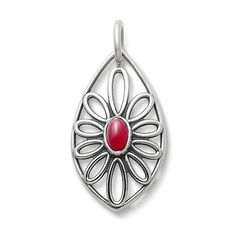 Radiant, open, and bright, the Flower Opal Florette Pendant is highlighted by an oval cherry red opal. This design is available in sterling silver or 14k gold. Complete the look by pairing this pendant with the matching Fire Opal Florette Ear Posts. #JamesAvery