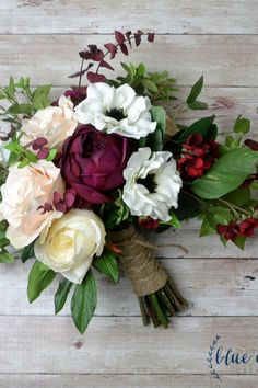 Fall wedding bouquet of silk flowers and artificial greenery. This bridal bouquet has a boho, hand-t Fall Wedding Bouquets, Flower Bouquet Wedding, Boquette Wedding, Wedding Ideas, Artificial Wedding Bouquets, Silk Bridal Bouquet, Rose Bouquet, Autumn Wedding, Wedding Ceremony