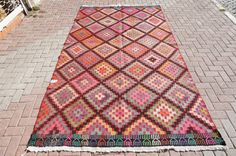 "VINTAGE Turkish Kilim Rug ,Diamond Manisa  Kilim Rug ,Carpet Natural Wool 72"" X122"" inches - 183 X 310 CM"