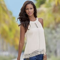 Crochet Trim Top from Monroe and Main.  A riveting central line of lace and trim adds frothy, sheer lightness to your look.