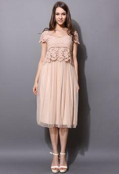Peach Pink Crochet Tulle Twinset Dress