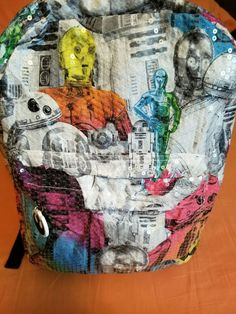 "Star Wars 16"" Sequined Kids Backpack - Rainbow School Travel Back Pack #StarWars"