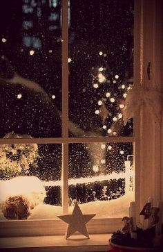 I remember looking out my window as a little girl, at the sparkling snow & wondering if I could stay awake to see Santa. we didn't have a fireplace, so my parents said Santa would come through our attic door, which was right next to my room. I never made it & they'd find me asleep on the floor by the window.