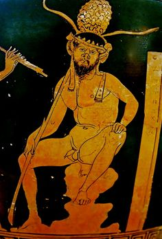 "A seated satyr. Side A of an Attic red-figure skyphos, artist unknown; Now in the Regional Archaeological Museum ""Antonio Salinas,"" Palermo. Ancient Greek Sculpture, Ancient Greek Art, Ancient Greece, Greece Art, Greek Pottery, Arte Horror, Historical Art, Guy Drawing, Bear Art"