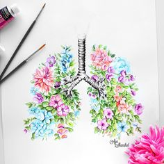 """Aya Shanshal on Instagram: """"You guessed it right it's a floral lungs prints available on my Etsy shop (direct link in my bio)"""""""