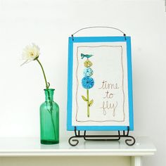 15% off bird decor for nursery, decorative blue word art, child's room decor, garden embroidery READY TO SHIP by mamableudesigns on etsy. $27.20, via Etsy.