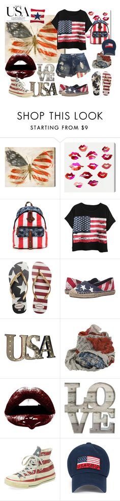"""made in usa"" by sophieglam ❤ liked on Polyvore featuring Oliver Gal Artist Co., Mossimo, Chicnova Fashion, Havaianas, Sperry, Faliero Sarti, Andy Warhol and Converse"