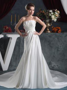 Shiny Satin A Line Wedding Dress with Elegant Pleats Customer Rating:1Brands:EmeraldaFreeship:YESFabric:Satin/Stretch SatinFabric(main):WeddingTailoring Time (Standard):15-20 DaysTailoring Time (Rush Order):10-15 DaysSilhouette:A-LineNeckline:AsymmetricalShoulder Strap:StraplessWaist:NaturalBack…