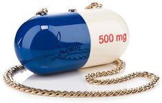 Obscenely expensive Christian Louboutin handbag in the shape of a pill