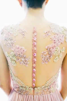 Floral appliqué illusion back wedding dress by Silhouette the Atelier // Photo by Trouvé