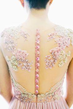 Floral appliqué illusion back wedding dress by Silhouette the Atelier // Photo by Trouvé