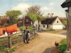 Spring in the Village, with Quilts ~ Hans Andersen Brendekilde ~ (Danish: 1857-1942)