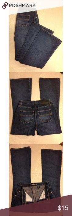 Express Jeans extreme flare design dark wash Express Jeans extreme flare design dark wash. Size 7/8 short. Excellent condition. Looks great with a pair of heels! Express Jeans Flare & Wide Leg