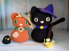 Free Crochet Amigurumi Scarecrow Cat and Crow pattern by The Enchanted Ladybug